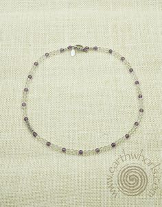 Amethyst, Crystal, Flourite & Sterling Silver Necklace