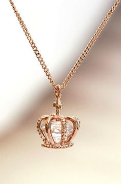 Crown pendant necklace with enclosed Swarovski diamond cut crystal. Available in… - Diamond Jewelry Cute Jewelry, Gold Jewelry, Jewelry Accessories, Jewelry Necklaces, Jewelry Design, Jewlery, Pretty Necklaces, Diamond Necklaces, Delicate Necklaces
