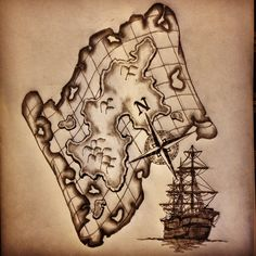 Map / ship / compass tattoo sketch / Drawing by - Ranz. I like this design a lot. I've wanted a ship tattoo for awhile now, and this one is definitely one of my favorites so far.