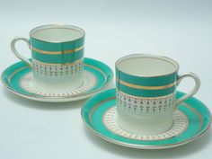 Items similar to Two Aynsley Green Gold Brown Demitasse Cup and Saucers Vintage Fine Bone China Demi Made in England on Etsy Tea Party Table, Green Cups, Cuppa Tea, Tea Service, How To Make Tea, China Patterns, Tea Sets, Teacups, Bone China