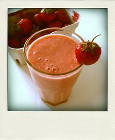 Strawberry Smoothie~Healthy drink. Good for hair, skin, nails, digestive tract. Energy boost.