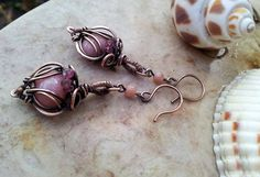 Pink opal earrings with tourmaline in by EdisLittleTreasures, $48.00