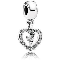Disney Tinker Bell Charm by PANDORA | Disney StoreTinker Bell Charm by PANDORA - Fly home beside our lovely pixie with this sterling silver Tinker Bell dangle charm. Perfect for her sparkling personality, Tink is surrounded by a heart featuring 23 bead-set sparkling gems.