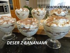 DESER Z BANANAMI - YouTube Cereal, Pudding, Breakfast, Youtube, Food, Mascarpone, Morning Coffee, Custard Pudding, Essen
