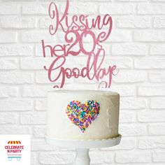 Kissing her 20's Goodbye Cake Topper | 30th Birthday | Birthday Cake Topper | Dirty Thirty | 30th Cake Topper  Add some sparkle to your celebration cake with our Kissing her 20's Goodbye cake topper.  Our cake toppers are made from glitter cardstock, double sided with a acrylic cake topper stick. The Kissing her 20's goodbye cake topper measure 14cm wide x 16cm high. 30 Cake Topper, Acrylic Cake Topper, Birthday Cake Toppers, Goodbye Cake, 30th Cake, Glitter Cardstock, Celebration Cakes, 30th Birthday, Kissing