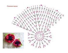 "Photo from album ""Маки"" on Yandex. Crochet Flower Tutorial, Crochet Flower Patterns, Poppy Crochet, Crochet Collar Pattern, Crochet Bouquet, Flower Chart, Lace Dream Catchers, Poppy Pattern, Crochet Bookmarks"