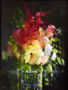 Painted Flowers, Art Flowers, Flower Art, Miniatures, Painting, Pen And Wash, Blue Prints, Board, Flowers