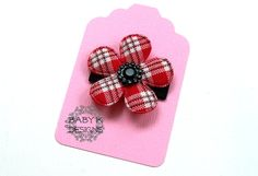 CHRISTMAS Red n Black Plaid Baby Bow/ Baby Snap Clips / handmade by Baby K Designs