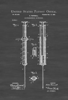 surgical instrument patent 1902 doctor office decor. 1899 Hypodermic Syringe Patent - Decor, Doctor Office Nurse Gift, Medical Art, Print, Surgeon Gift Surgical Instrument 1902 Decor R