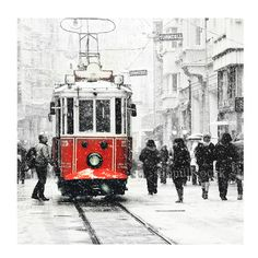 Tram photography  Wall decor  istanbul photography by gonulk  #tram #redtram #red #winter #snow #christmas #HomeDecor #WallDecor #WallArt #photography  #Art #Etsy #Print #ArtPrint #HomeDecorating #photo #artprint #roominteriordecoration  #photoprint #housewarming #officedecor