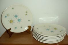 Set of 7 Franciscan Atomic Starburst Dinner Plates Mid-Century Modern 1954-1966