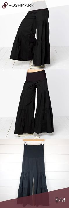 """XCVI Wearables XS Long Tier Palazzo Pant Wide Leg Super cute pair of XCVI Wearables long tier palazzo pants in size extra small. Stretch pull on waist with fun bell shaped wide legs in great pre-owned condition. Measurements below to determine fit.  MEASUREMENTS  Hip to Hem 36""""  Flat Lay Width of Leg Opening 23"""" Across  Waist 28""""  Inseam 29""""  Rise 10""""  Checkout my other items!  A5P XCVI Pants Wide Leg"""
