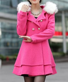 Long woolen coat dress with fur collar by Nextchoice, $85.00
