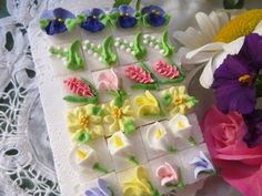 Garden Bouquet Sugar Cubes by SweetSpecialties on Etsy https://www.etsy.com/listing/221946679/garden-bouquet-sugar-cubes