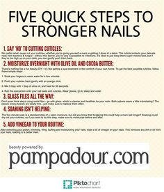 Five Quick Steps to Stronger Nails. For more beauty tips and tricks, head over to Pampadour.com!
