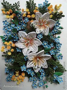 Картина панно рисунок Квиллинг Вальс цветов Бумажные полосы фото 1