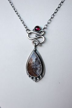 Moonlight sterling silver hyalite opal garnet by gallerydarrow