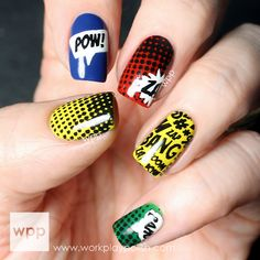 Digit-al Dozen Does Skittles (Oct Bam! Comic Nails with Vivid Lacquer stamping plate Digit-al Dozen Does Skittles (Oct Bam! Comic Nails with Vivid Lacquer stamping plate Source by cabaretd Comic Book Nails, Comic Nail Art, Comic Art, Cute Nail Polish, Cute Nails, Pretty Nails, Superhero Nails, Hair And Nails, My Nails