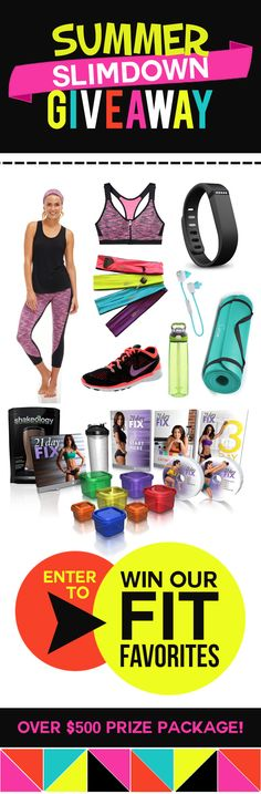 Enter to win this amazing Summer Slimdown Giveaway - over $500 Prize package! Fitbit included - wow! What a great way to get healthy and fit! www.settingforfour.com