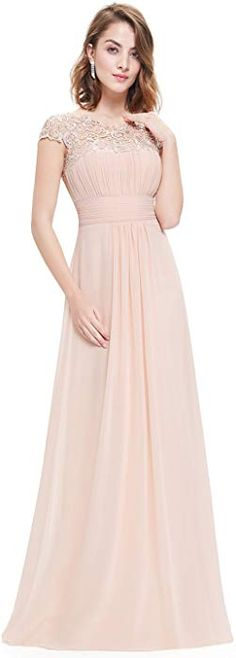 Enjoy exclusive for Ever-Pretty Womens Cap Sleeve Lace Neckline Ruched Bust Evening Gown 09993 online - Newtopgoods Modest Formal Dresses, Elegant Dresses, Pretty Dresses, Prom Party Dresses, Ball Dresses, Ball Gowns, Beautiful Bridesmaid Dresses, Bride Dresses, Thing 1
