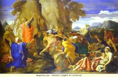 Nicolas Poussin. Moses Striking the Rock for Water. Olga's Gallery.