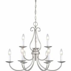 Filament Design Lenor 9-Light Brushed Nickel Incandescent Ceiling Chandelier-V2319-33 at The Home Depot, $219.00