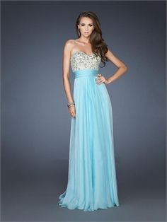A-line Strapless Sweetheart Beaded Chiffon Prom Dress PD2394