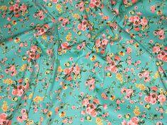 Green/Pink Floral Print Stretch Cotton Twill Designer Dress Fabric - per metre http://www.minervacrafts.com/51.d-hendon-39-tosca-greenpink-floral-print-stretch-cotton-twill-designer-dress-fabric-per-metre.html