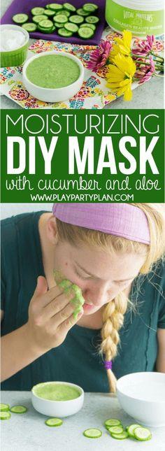 This easy DIY cucumber face mask is perfect for dry skin or skin that just needs a little moisturizing. Filled with cucumber, honey, aloe, and more all-natural ingredients, it's great for homemade facials! Homemade Face Mask With Honey Diy Mask, Diy Face Mask, Face Mask Peel Off, Overnight Face Mask, Cucumber Face Mask, Mask For Dry Skin, Beauty Hacks For Teens, Honey Face Mask, Face Masks For Kids