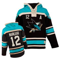28dc3b798 Authentic Joe Thornton Teal Black Men s NHL Jersey  San Jose Sharks Old  Time Hockey Sawyer Hooded Sweatshirt