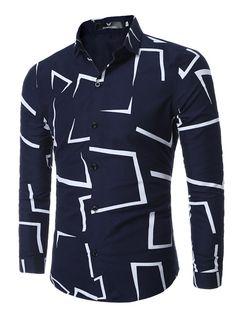 f112b653825 Geometric Printed Single-Breasted Men s Long Sleeve Shirt Casual Bărbați