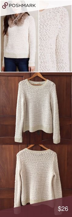 """Anthropologie Textured  Arbor Sweater by Moth Adorable ivory textured stitch Arbor sweater by Moth. Purchased from Anthropologie. Crewneck. Size medium. Worn one time. Still in excellent condition. Bust 40"""", length 25"""". Anthropologie Sweaters Crew & Scoop Necks"""