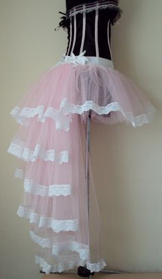 Baby Pink White Lace Burlesque Skirt size XS S M L XL 10/12ins length at the front and 34/36ins at the back .