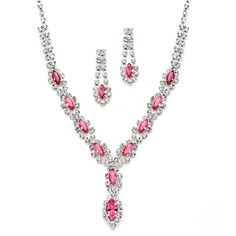 Classic Rhinestone Prom Necklace Set with Pink