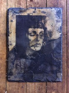 Liquid emulsion darkroom print on slate. Alternative printing process. Photograph taken and printed by Robin Cowings.