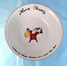 Merry Brite Merry Christmas set of 3 Coupe Soup Cereal Bowls Santa Tree Gift #MerryBrite