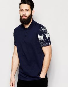 ASOS+Polo+Shirt+With+Floral+Print+Sleeves
