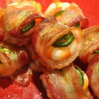 Shrimp wrapped in bacon with jalapeño and cheddar...these are great as apps and served with rice as a main meal