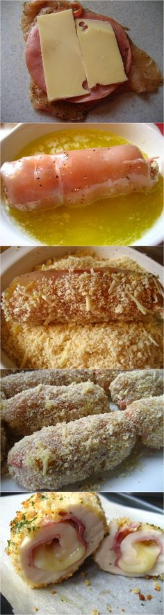 Easy Baked Chicken Cordon Bleu Recipe Ingredients: 5 chicken breasts, split in 2 (total yield 10 pieces) 4 tsps onion powder, divided cups fresh bread crumbs cup shredded Parmesan salt& Baked Chicken Cordon Bleu, Easy Baked Chicken, Chicken Ham, Italian Chicken, Stuffed Chicken, Cheesy Chicken, Garlic Chicken, Grilled Chicken, I Love Food