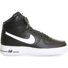 NIKE Air Force 1 leather high-top trainers (135 CAD) ❤ liked on Polyvore featuring shoes, sneakers, black perforated, black high tops, leather high top sneakers, nike trainers, black hi top sneakers and nike shoes