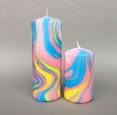 Image of Lemon/Light Blue/Rose Marbled Pillar Candle Best Candles, Diy Candles, Pillar Candles, Candle Art, Candle Lanterns, Diy Wax Melts, Light Blue Roses, Candle Store, Handmade Candles