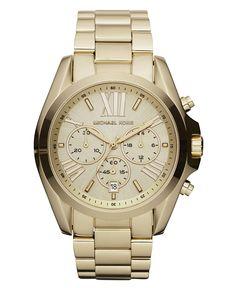 Michael Kors Watch, Women's Chronograph Bradshaw Gold Tone Stainless Steel Bracelet 43mm MK5605 - All Watches - Jewelry & Watches - Macy's