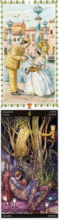 Four of Cups: ignoring potential joys and boredom (reverse). Romantic Tarot deck and Universal Fantasy Tarot deck: tarot cards vintage, tarot vs lotus tarot free online reading. Best 2017 fortune telling cards and lenormand decks.