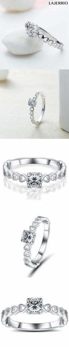 Lajerrio Jewelry 0.5CT Round Cut White Sapphire S925 Engagement Ring