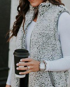 Fuzzy Faux Fur Winter Outerwear Sherpa Fleece Vest teddy vest faux fur casual vest women fur short v Vest Outfits For Women, Fur Vest Outfits, Winter Outfits Women, Summer Outfits, Boy Outfits, Casual Outfits, Puffer Vest Outfit, Fur Casual, Casual Wear