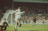 A picture of England and Argentina soccer players playing the quarter finals of the FIFA World Cup in Wembley Stadium London in July 1966
