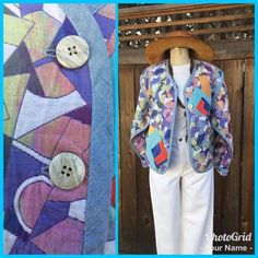 Vtg Canvasbacks Lutton And Horsefield  Women's Jacket Colorful Abstract Design S    eBay