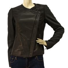 NWOT Jo Peters Black leather Woolen sleeves zip front fitted Jacket size S