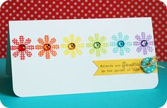 Love this sketch and the cheery colors can do this with other small stamps or flower stickers!  Cute!!!! http://leascupcakesandsunshine.blogspot.com/