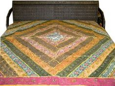 Home Decor Sequin Bedding Yellow Pink Sari Patchwork Embroidery Indian Bedspread Throw